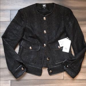 NWT Black Chenille Lurex Coupe' Jacket